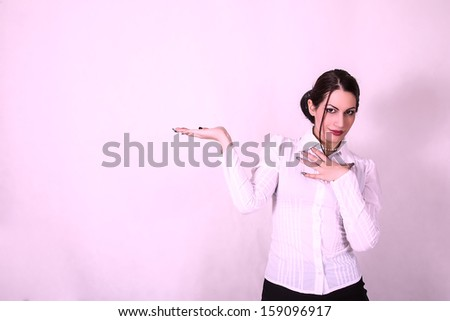 businesswoman with empty hand