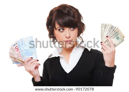 businesswoman with euro and dollar money notes. isolated on white background