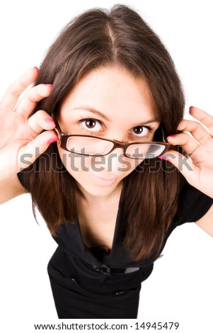 Businesswoman with eyeglasses wide angle portrait. Isolated on whie.