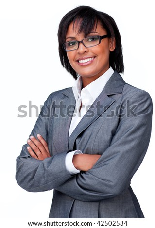 Businesswoman with folded arms wearing glasses against a white background