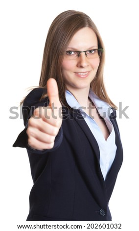 Businesswoman with glasses showing thumb up