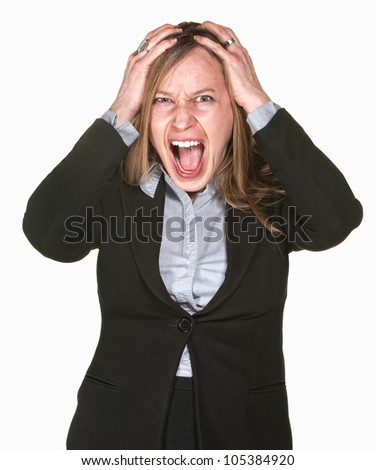 Businesswoman with hands on head over white background