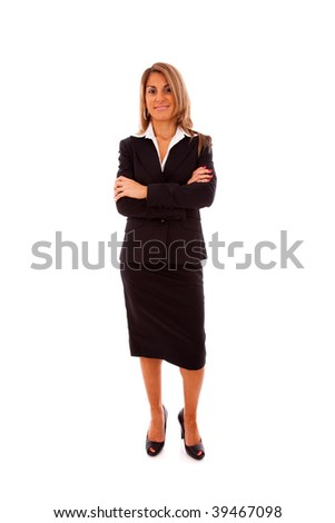 businesswoman with her arms crossed (isolated on white)