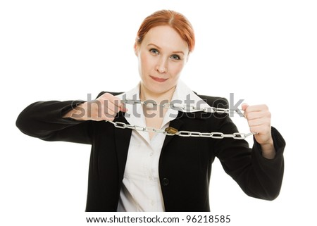 Businesswoman with her hands shackled in chains on a white background.