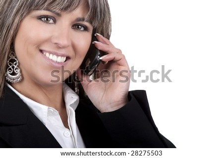 businesswoman with mobile phone isolated on white background