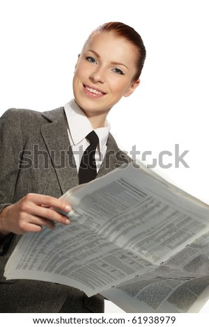 businesswoman with newspaper