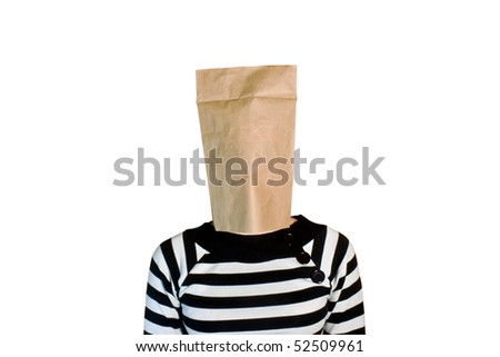 Businesswoman with paper bag in head isolated on white background