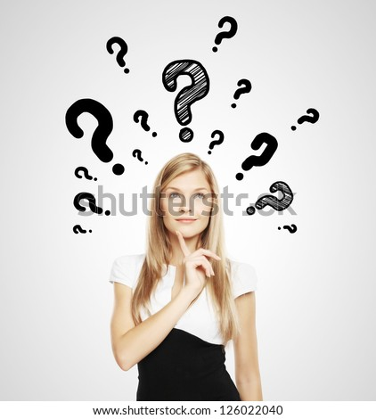 businesswoman with question mark over head