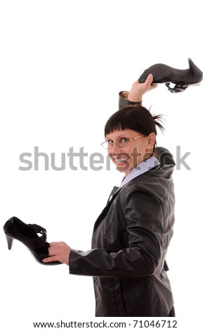 businesswoman with shoes  isolated on white background