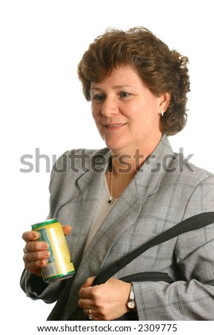 Businesswoman with soft drink