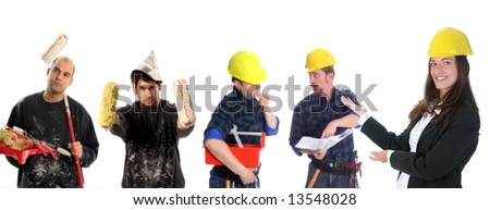 businesswoman with successful construction workers on white background