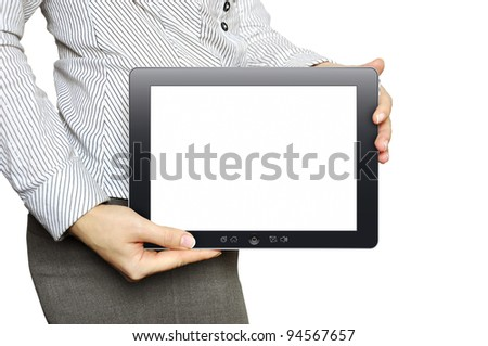 Businesswoman with tablet computer in her hand