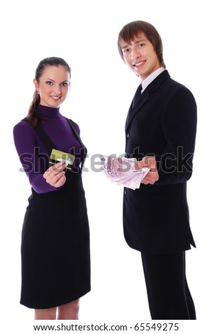 businesswoman with the credit card and businesswoman with the money. Isolated at white background