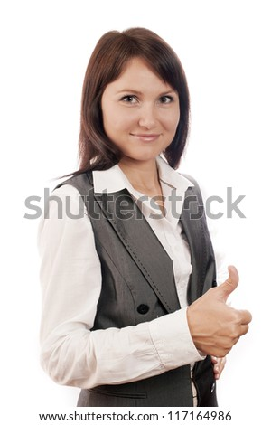 Businesswoman with thumb up sign, isolated on white, show all right