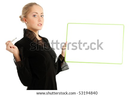 Businesswoman with whiteboard, on white background
