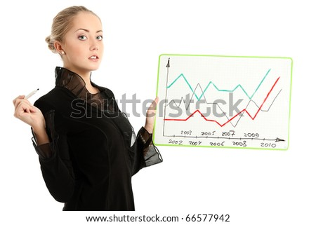 Businesswoman with whiteboard, on white background - stock photo