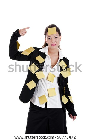 Businesswoman with yellow pos-its, isolated on white