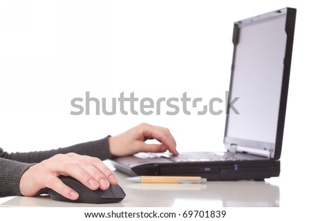 businesswoman - woman hand on mouse pen and computer. Isolated on white background