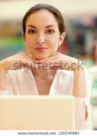 Businesswoman work on laptop