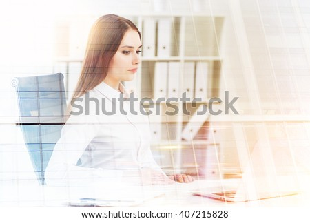 Businesswoman working on laptop, office at background. Double exposure. Concept of work. #407215828