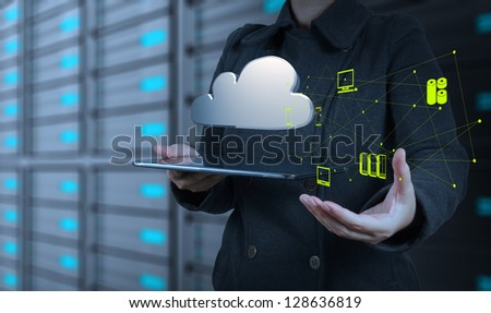 Businesswoman working with a Cloud Computing diagram on the new computer interface