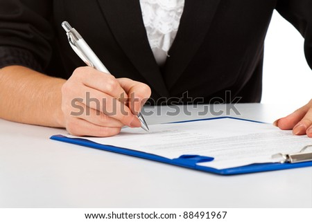 Businesswoman working with documents sign up contract close up view.