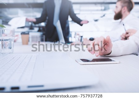 Businesswoman works on a mobile phone. Concept of internet sharing and interconnection #757937728