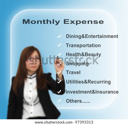 Businesswoman writing monthly expense concept