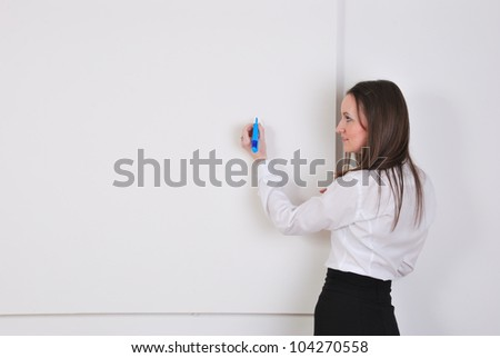 Businesswoman  writing notes on board