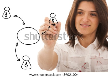 businesswomen drawing a social network scheme on a whiteboard (selective focus)