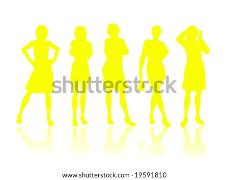 Businesswomen silhouettes in different poses and attitudes #19591810