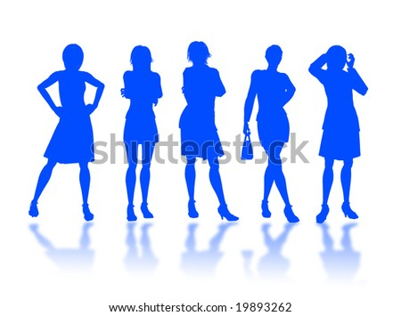 Businesswomen silhouettes in different poses and attitudes #19893262