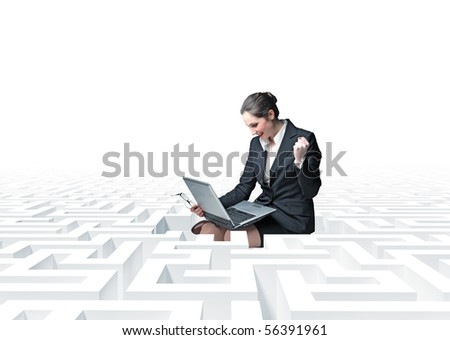 businesswon with laptop  in a 3d  labyrinth
