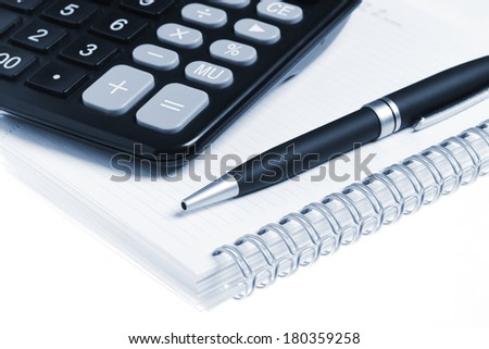 Bussines concept, notebook, pen and calculator