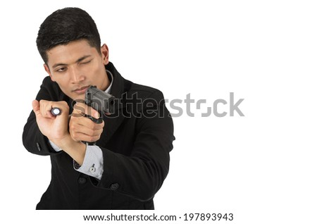 Bussinessman with gun Isolated on white background with clipping path.