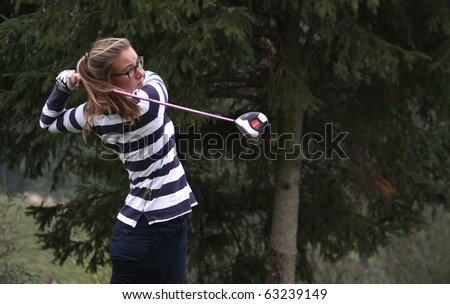 BUSSY SAINT-GEORGES GOLF COURSE, FRANCE - OCTOBER 15 :  Louise Gateau Chovelon (FRA) at Trophee Prevens, Ladies European Tour, october 15, 2010, at  Bussy Saint-Georges golf club, France. - stock photo
