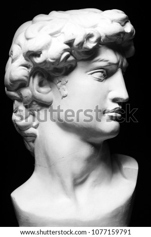 Bust of a Michelangelo's David on black background