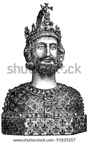 Bust of Charlemagne, the 13th century, cathedral in Aachen, Germany - an illustration of the encyclopedia publishers Education, St. Peterburg, Russian Empire, 1896