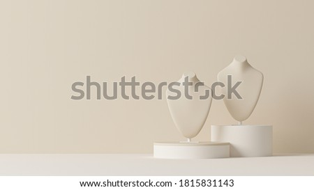 Bust showcase jewelry display for necklace pendant in a cream background. Stand holder. Beige color mannequin jewelry stand. Trendy 3d render for social media banners, promotion, presentation, picture Foto d'archivio ©