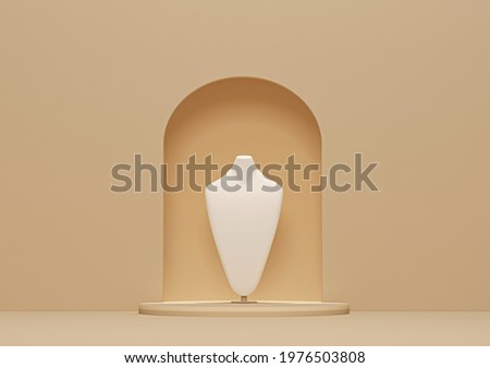 Bust showcase jewelry display for necklace pendant in a cream background. Stand holder. Beige color mannequin jewelry stand. Trendy 3d render for social media banners, promotion, presentation, picture