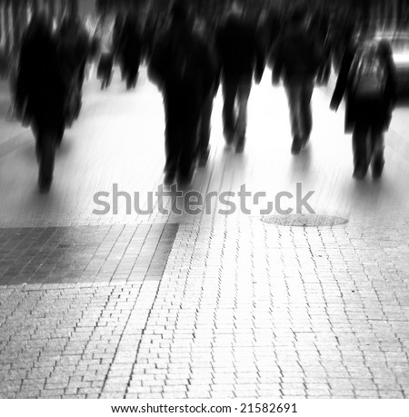 Busy big city street. Motion blurred with lens