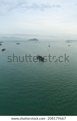 busy boats in hong kong  china