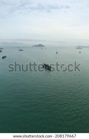 busy boats in hong kong  china