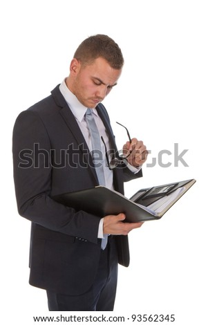 Busy business man reading some documents