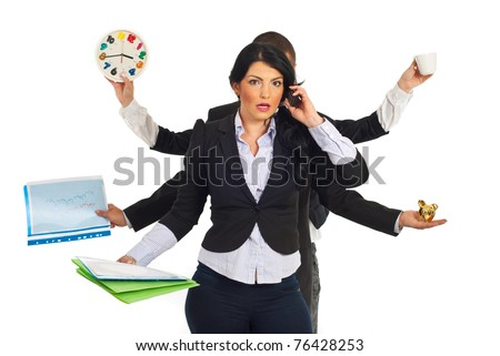 Busy business people holding different objects and a shocked businesswoman talking by phone mobile in front of them isolated on white background