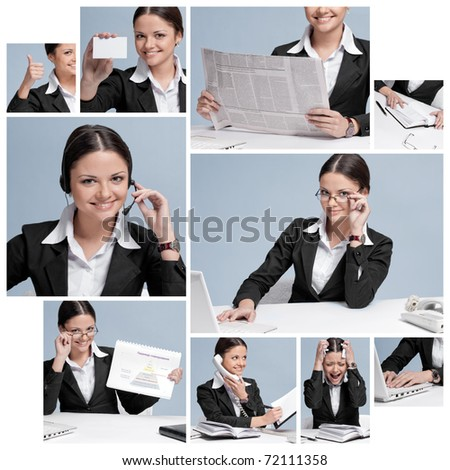 Busy business woman in office place talking by wireless headset over white table, laptop and diary. collage - stock photo