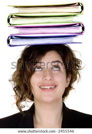 busy business woman with folders on her head