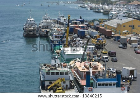 Busy Caribbean Harbor Bird\'s eye view of a busy Caribbean freight harbor.