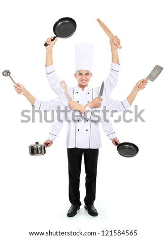 Busy chef concept with many hand isolated on white background