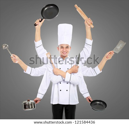 Busy chef concept with many hand on grey background